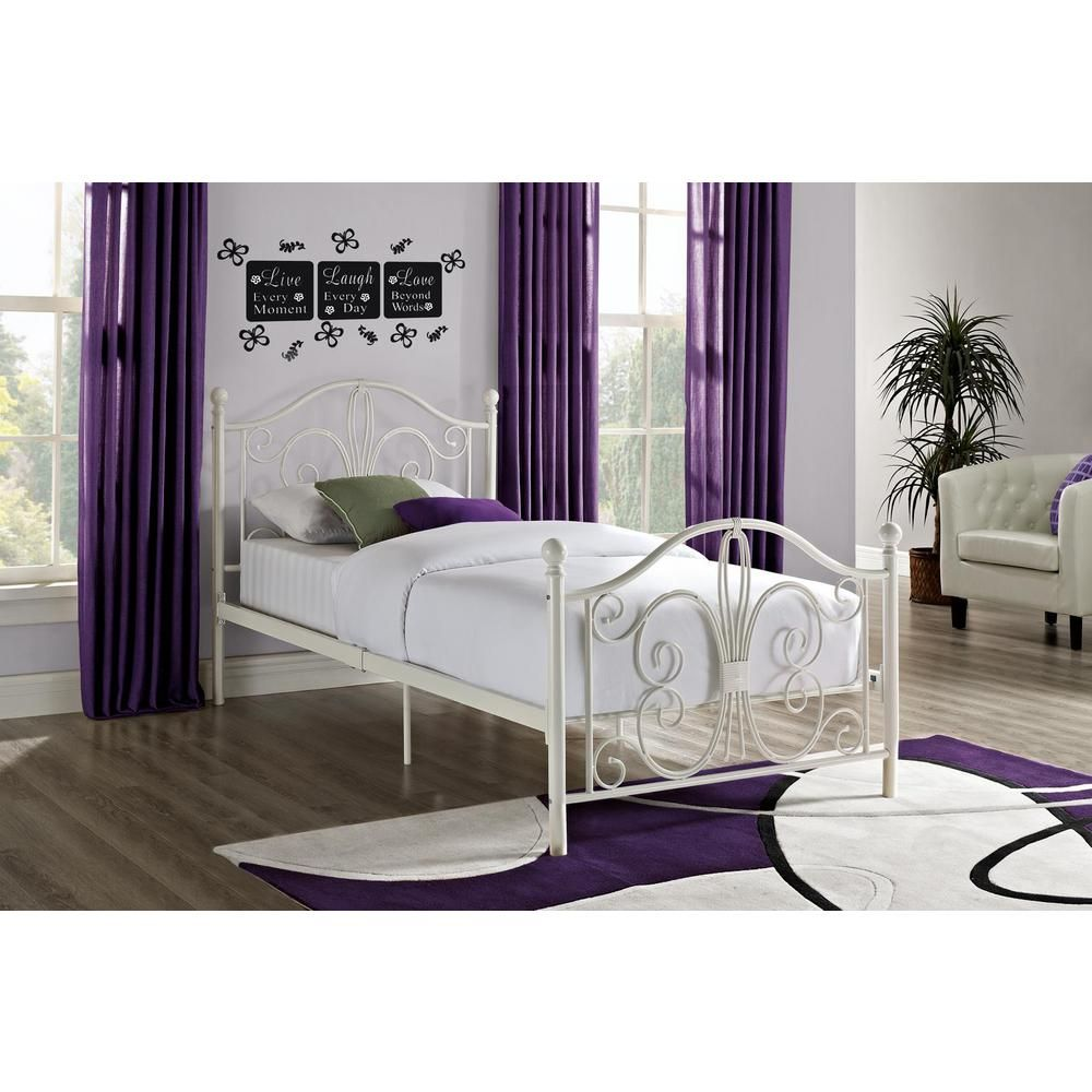 Dhp Bombay White Twin Bed Frame 3246098 Metal Twin Bed Frame