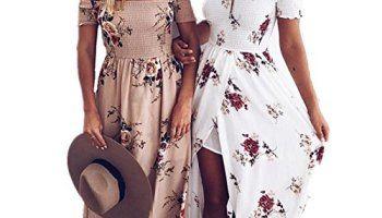 fd66c898bf Vansha Women s Boho Off Shoulder Strapless Summer Beach Floral Slit Maxi  Dress