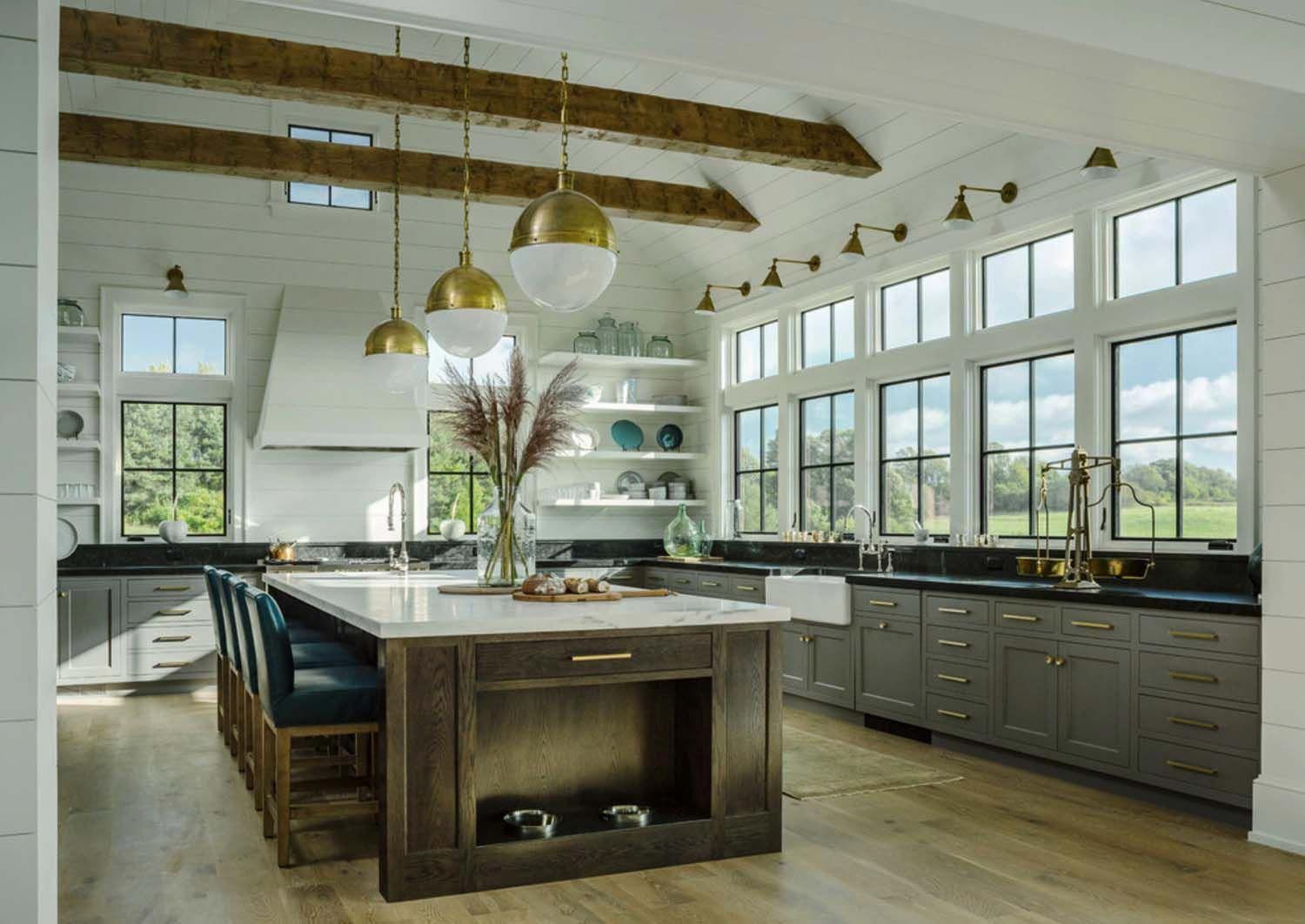 Traditional Farmhouse Style Dwelling In Vermont With A Modern Twist Contemporaryinte Rustic Farmhouse Kitchen Farmhouse Kitchen Design Interior Design Kitchen