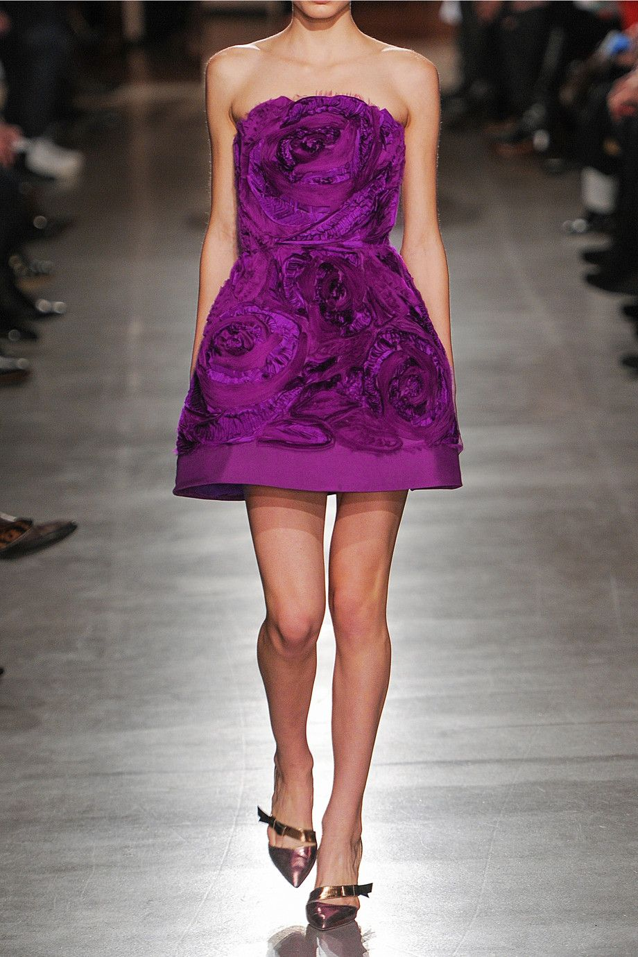 Oscar de la Renta | Appliquéd silk-taffeta and organza mini dress ...