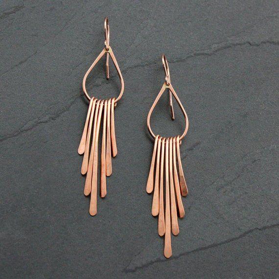 Rain Rose Gold Fill Earrings Dangle Fringe Handmade Jewelry Statement Earring Pair Modern Asymetrical Falling Rain 14k Rose Gold Filled