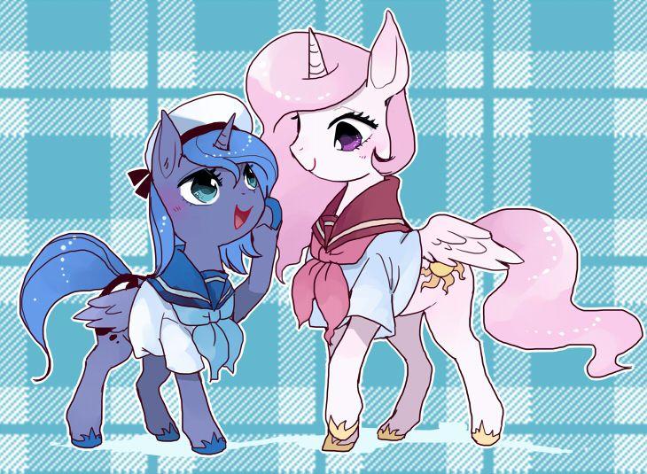 princess celestia, princess luna, sailor uniform - My Little Pony:
