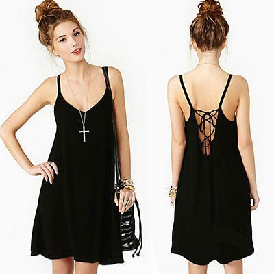 Sexy Black Loose Backless Chiffon Slip Mini Dress Party Evening Clubwear Womens