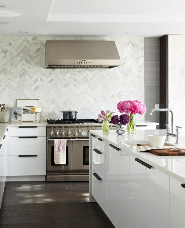 Kitchen Design Admirable Marble Chevron Tile Backsplash In Kitchen Also White Modern Kitchen Draw White Ikea Kitchen White Modern Kitchen Contemporary Kitchen