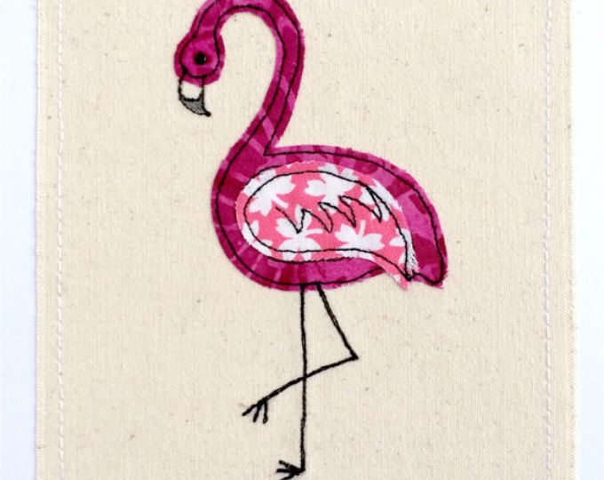 Flamingo greeting card- personalised textile art, embroidery fabric applique picture, wildlife nature, tropical bird, birthday, fuchsia pink