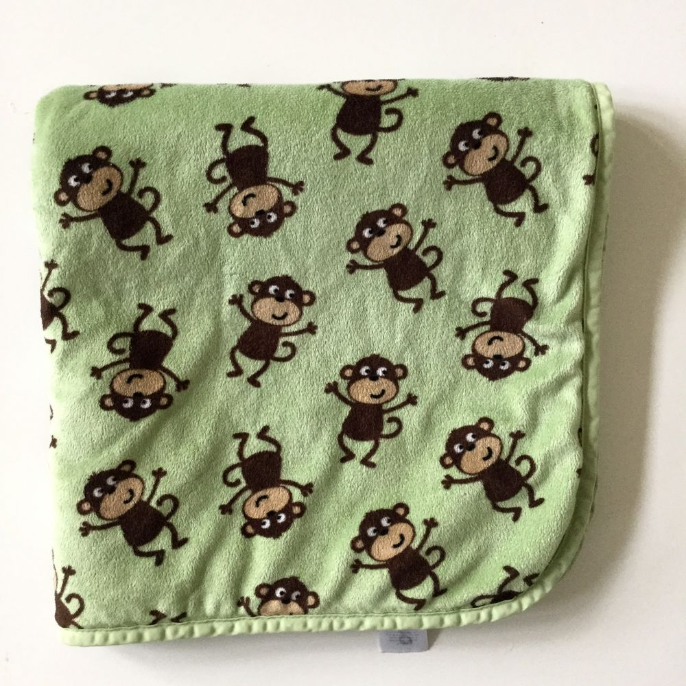 Carters Green Brown Monkey Velour Sherpa Baby Blanket