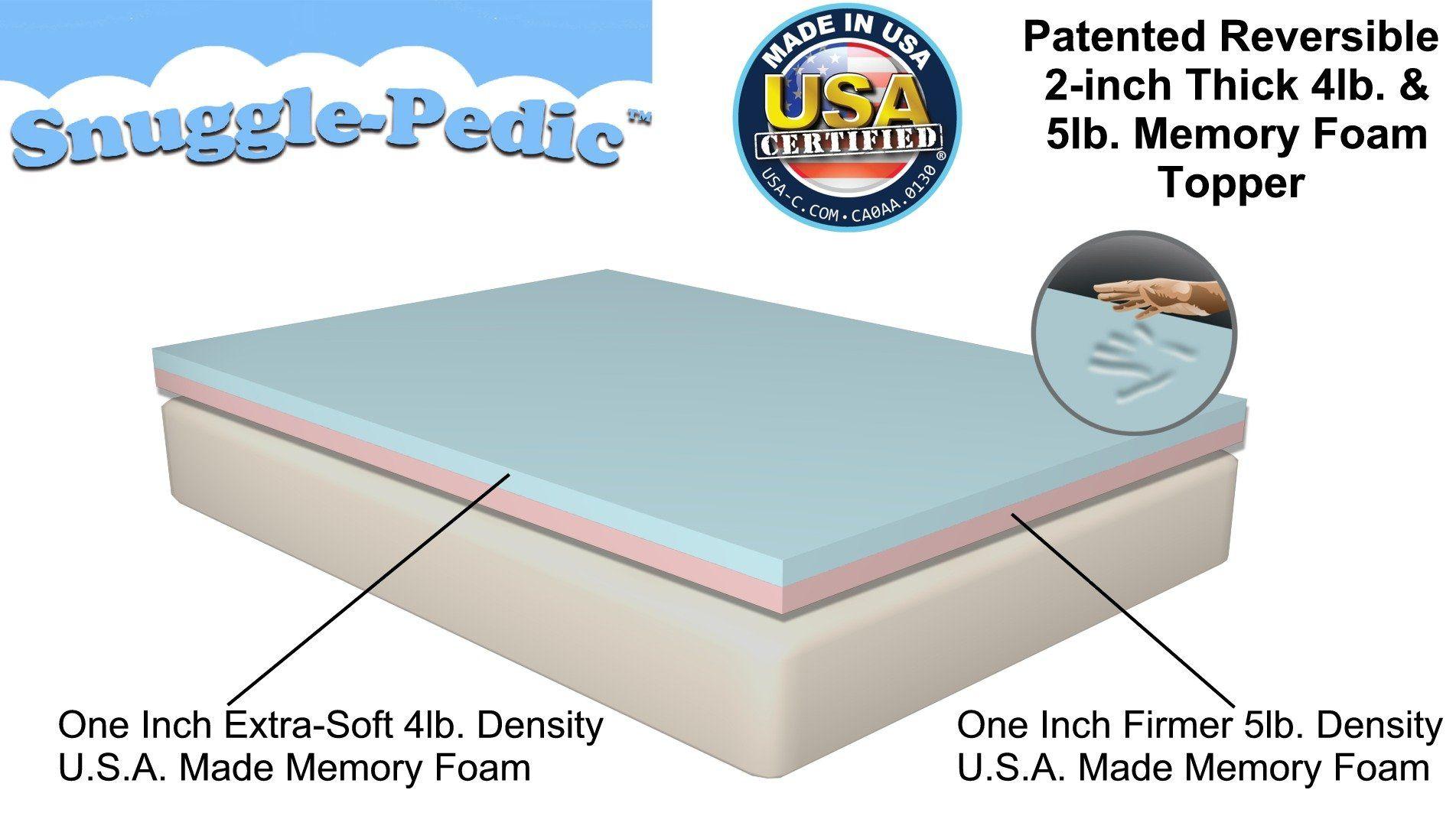 Amazon Com Queen Size Snuggle Pedic Patented Double Layer 4lb 5lb Density Viscoelastic Foam Mattress Topper Foam Mattress Pad Memory Foam Mattress Topper