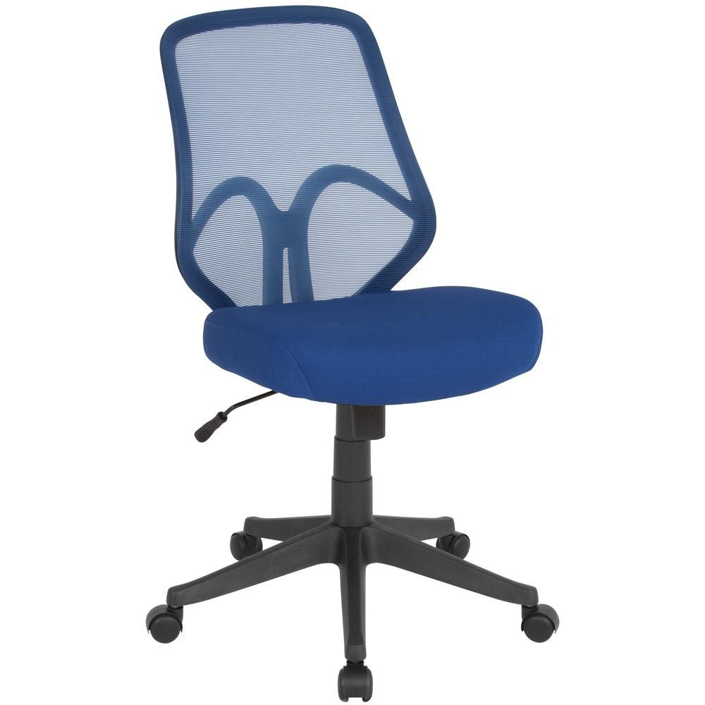 Carnegy Avenue Navy Mesh Office Desk Chair Blue Mesh Office