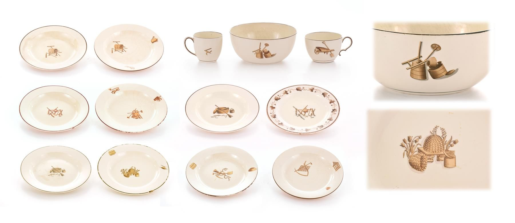 Selkirk Auctioneers & Appraisers | Full Details for Lot 74 WEDGWOOD WORK SERVICE PIECES.  England, late 19th- early 20th century. Comprising sixteen plates, two small plates, four small bowls, one large bowl, and one tea and one coffee cup. All impressed to underside.  Estimate $ 50-100