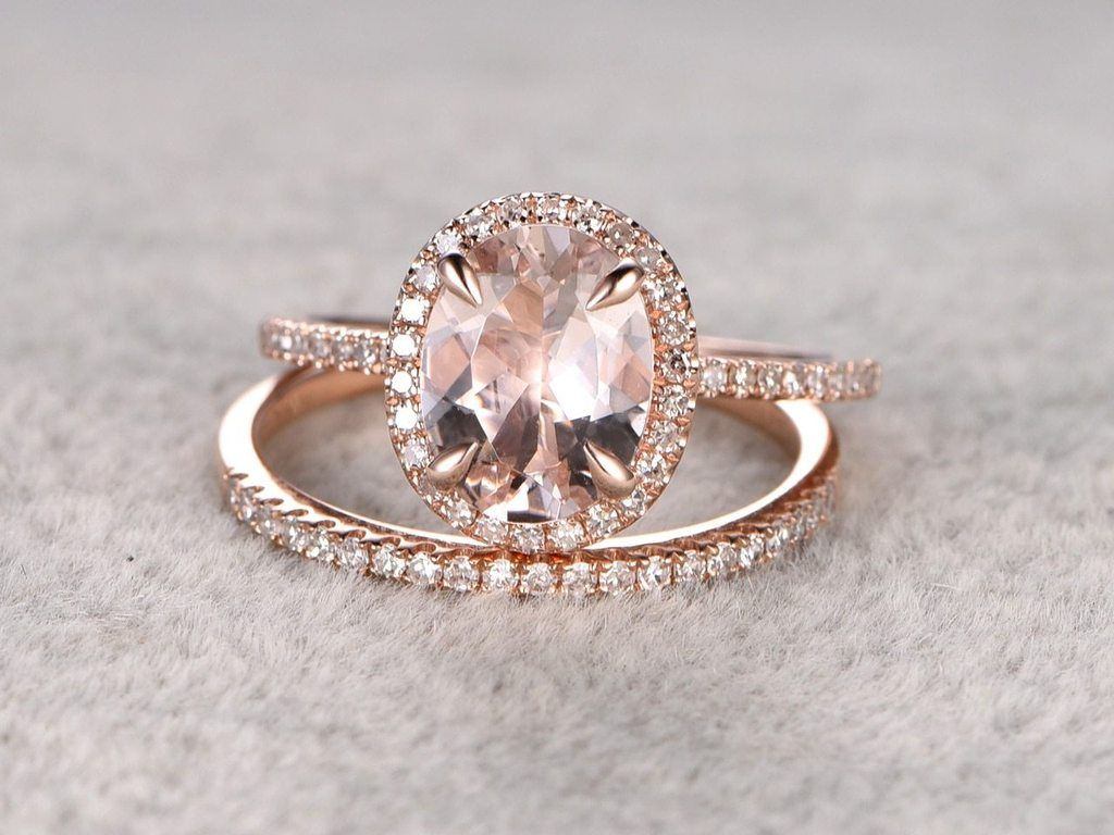 85092a5352d58a Huge 3 Carat oval cut Morganite and Diamond Engagement Ring in Rose Gold.  Wonderful antique art deco peach pink morganite wedding ring set features  total 3 ...