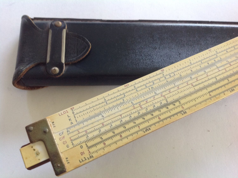 Vintage 40s K&E slide rule log duple decitrig tool Green leather case by Hannahandhersisters on Etsy