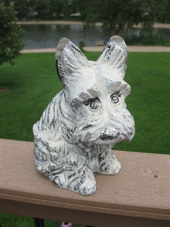 Vintage 50s cement scotty dog concrete statue painted for Decorative lawn ornaments