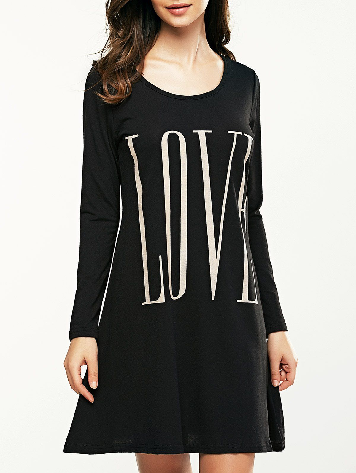 Long sleeve letter print t shirt dress shirts products and sleeve