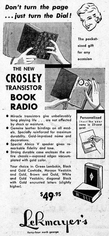 Vintage Advertising For The Crosley Transistor Book Radio Transistors Subminiature Tubes The York Pennsylvania Gazette And Daily Newspaper December 20 1 Radio Vintage Advertisements Vintage Radio