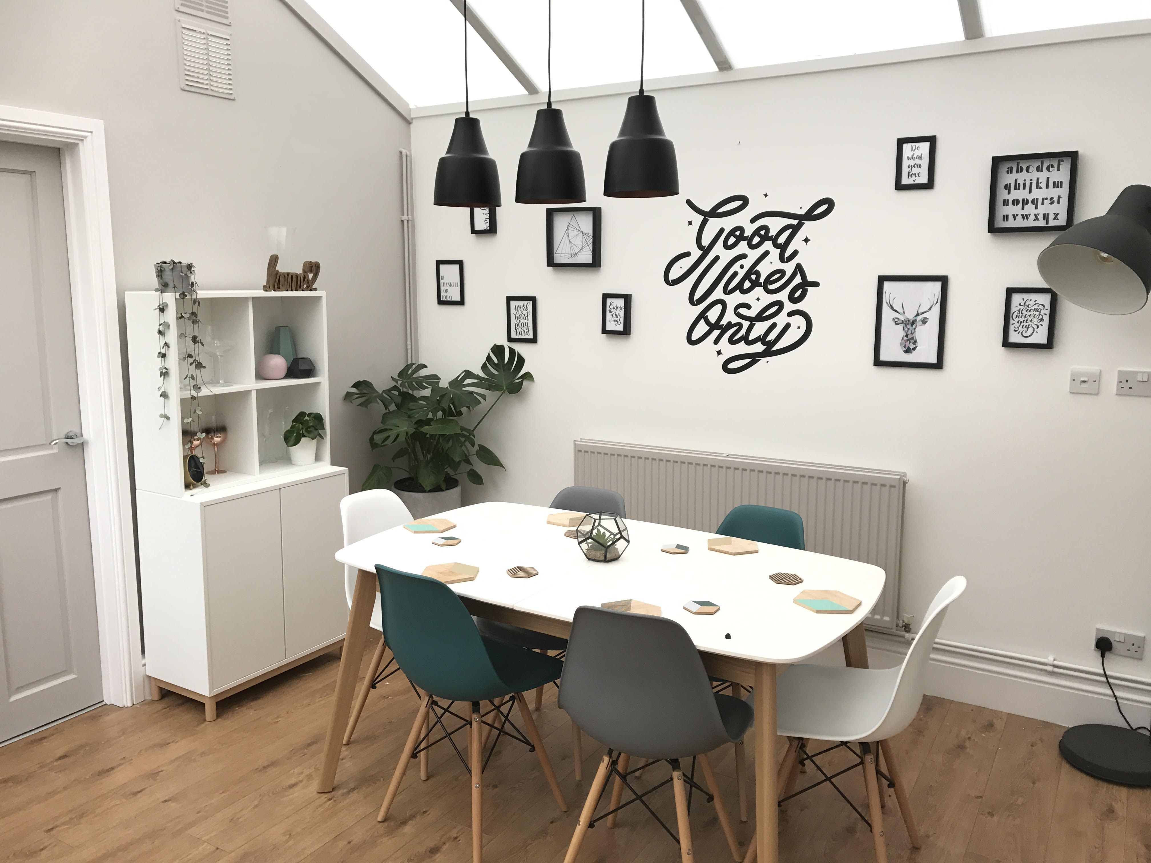 30aadf6f9e8 Oak Extending Dining Table. Wallboss and their amazing colourful scandi Aver  and Finn Extending Dining Set Plastic Dining Chairs