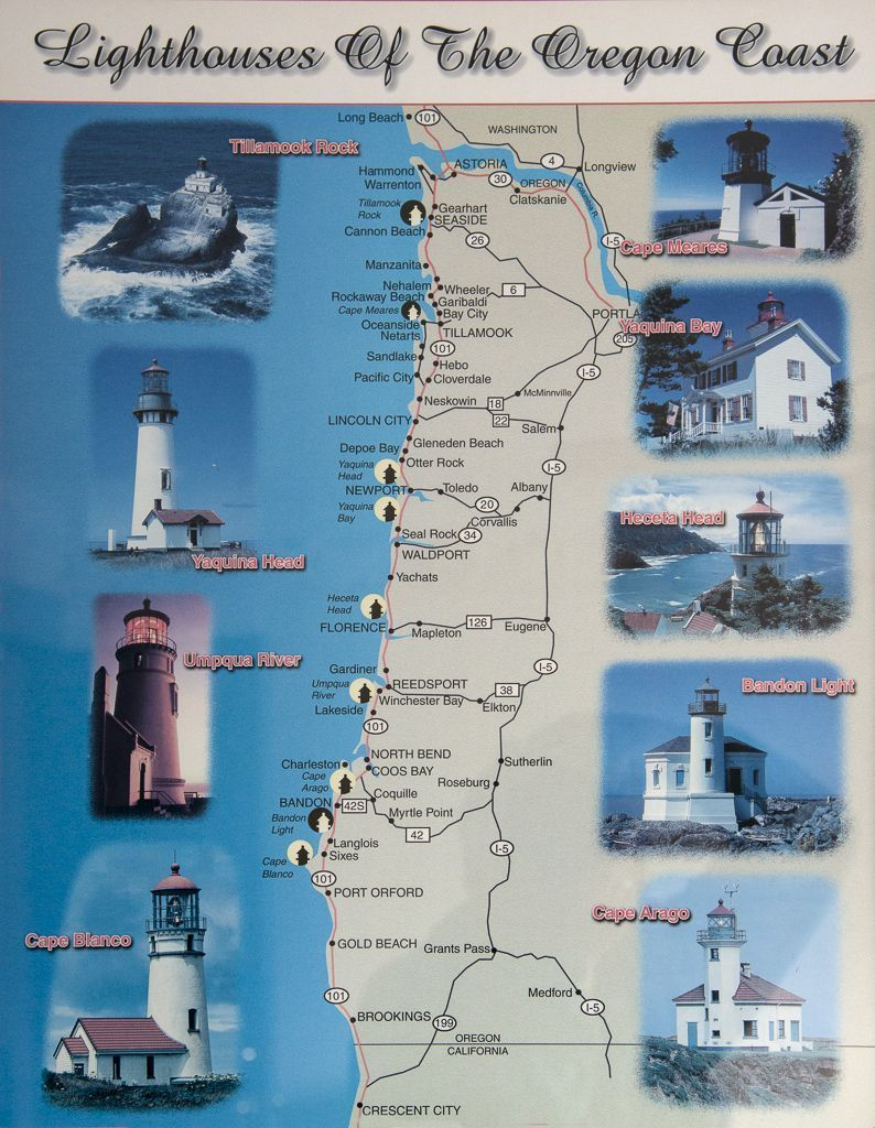 Lighthouses In Oregon Map.Image Result For Oregon Coast Lighthouses Map Vacation 2018