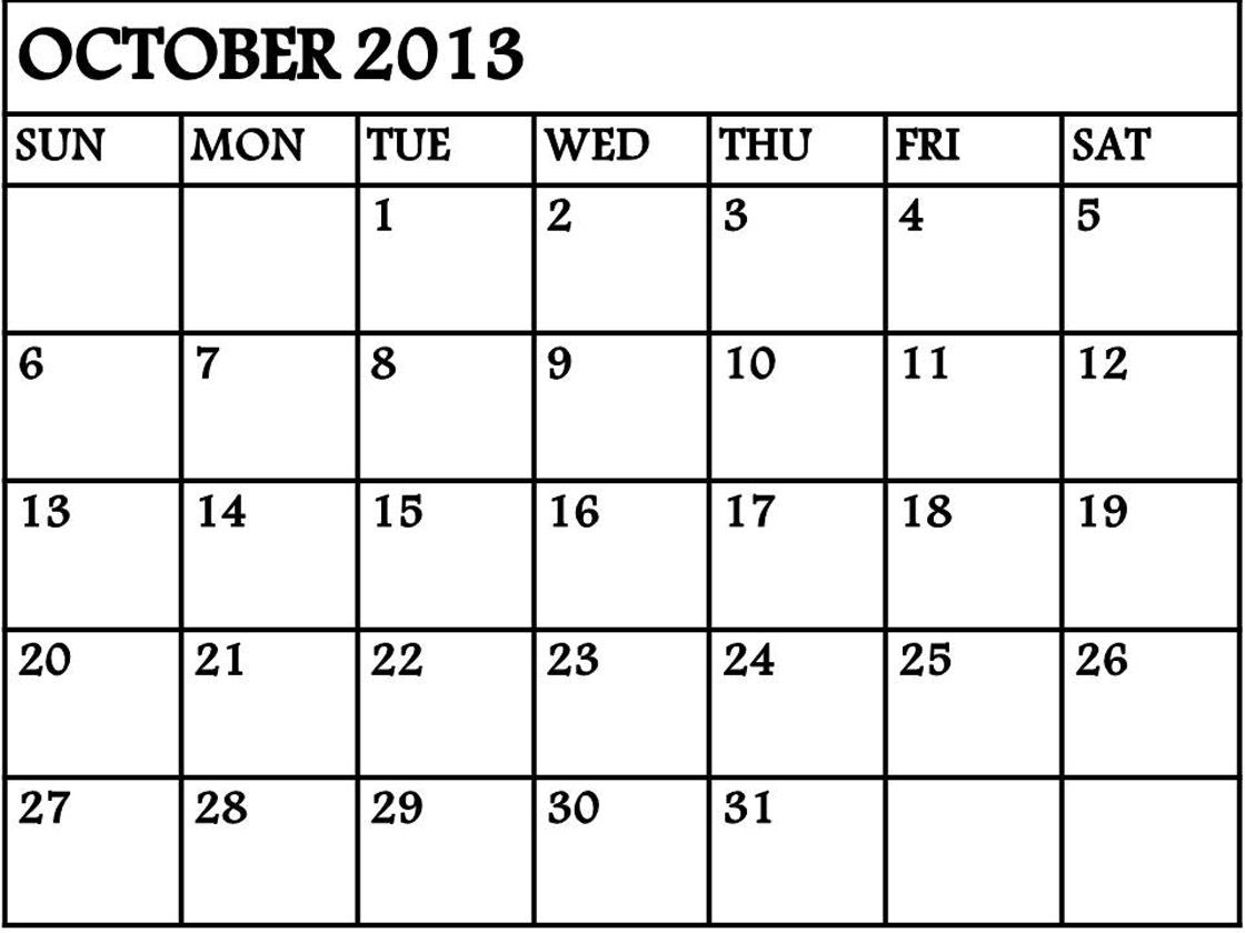 Blank October Calendar Printable
