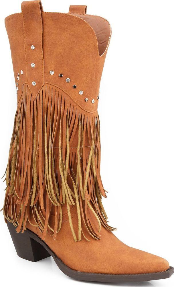 7d44e9ddf Roper Womens Rhinestone Fringe Western Boot Tan Faux Leather Narrow Toe  Medium #Roper #CowboyWestern