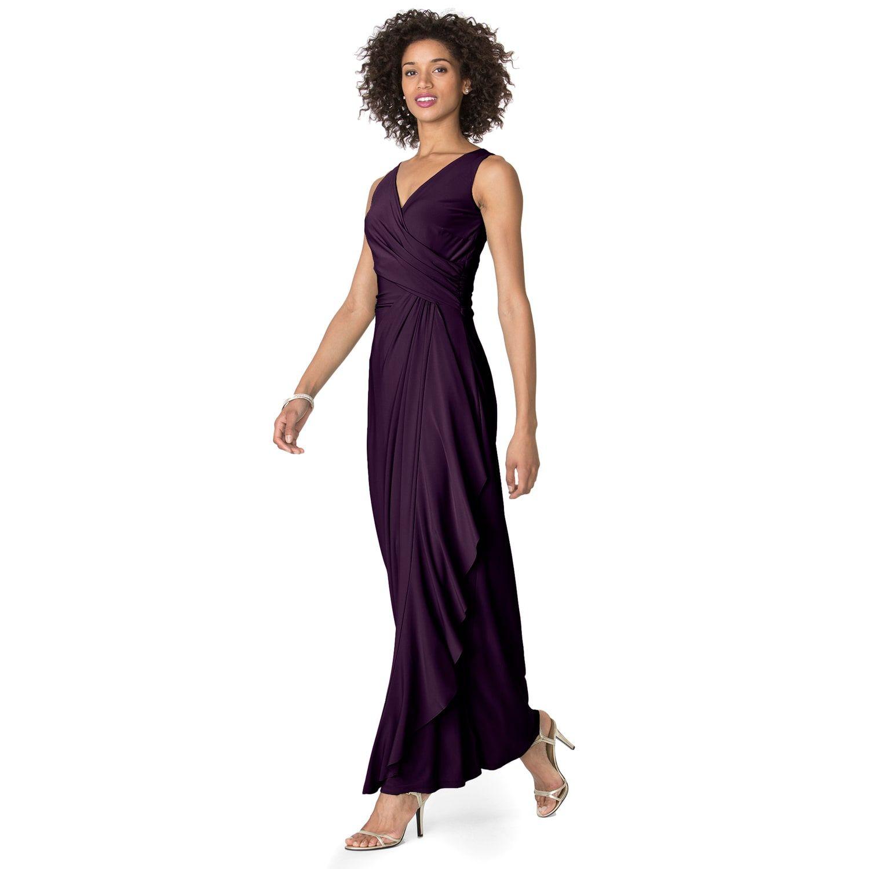f78ffce5d8c Women s Chaps Ruffle  90 Overlay Sleeveless Gown