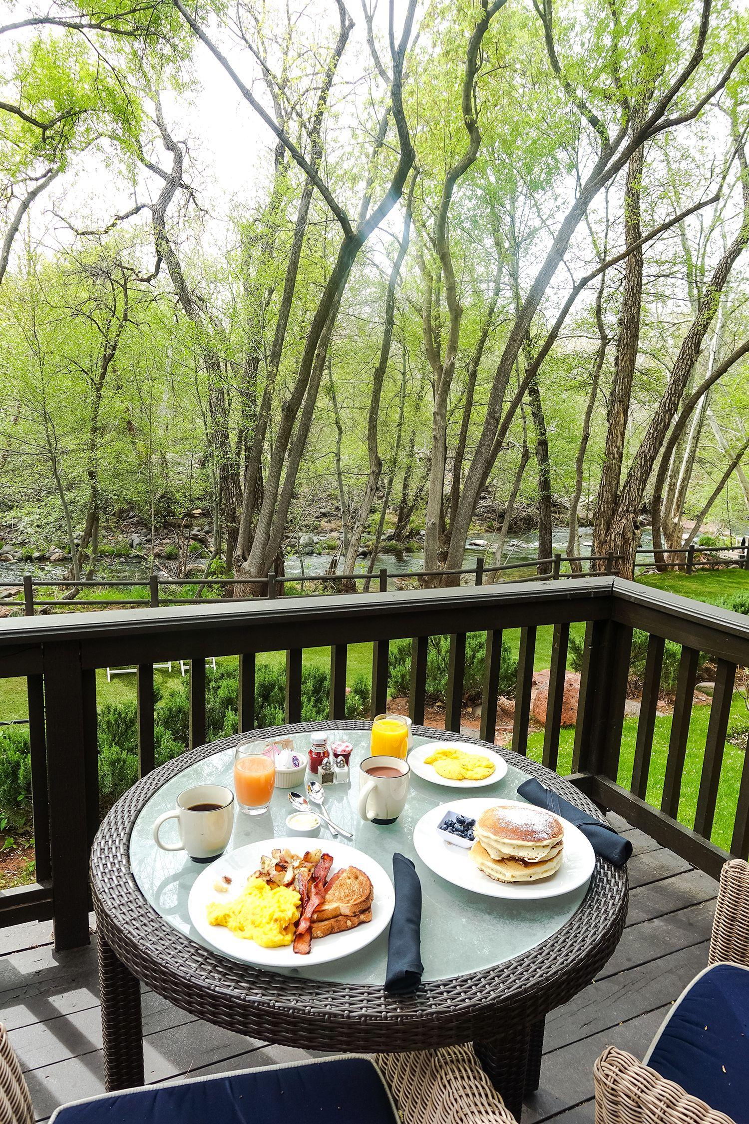 Breakfast by the creek at L'Auberge de Sedona, Arizona