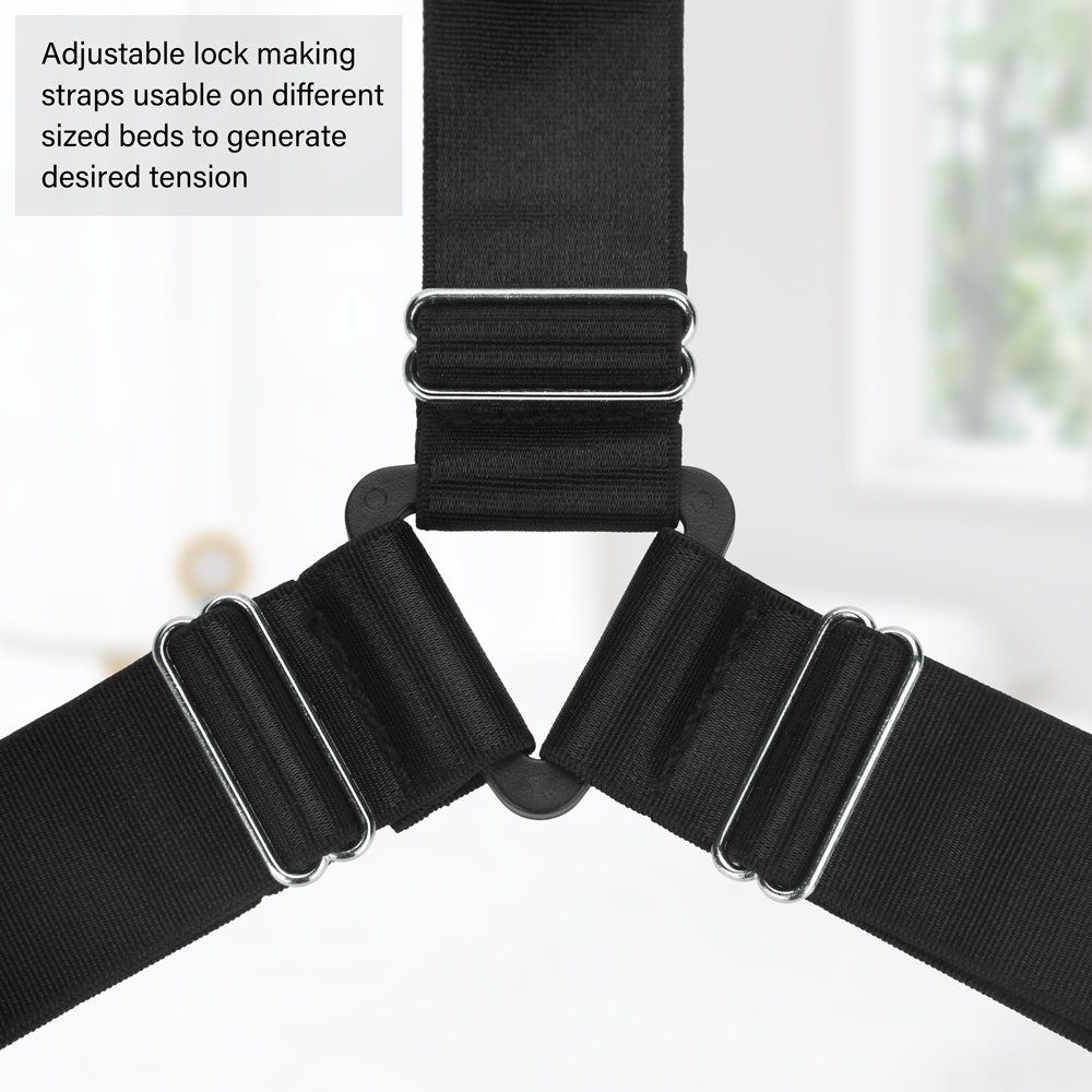 4pcs Adjustable Bed Sheet Fasteners Suspenders Premium Elastic Sheet Strap Clips And Metal Holder With Triangle Heavy Dut Cushions On Sofa Sofa Adjustable Beds