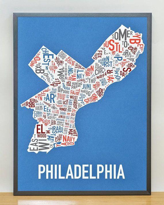 Philadelphia neighborhood map poster or print original artist of philadelphia neighborhood map poster or print original artist of type city maps philadelphia typography map art travel gift gumiabroncs Image collections
