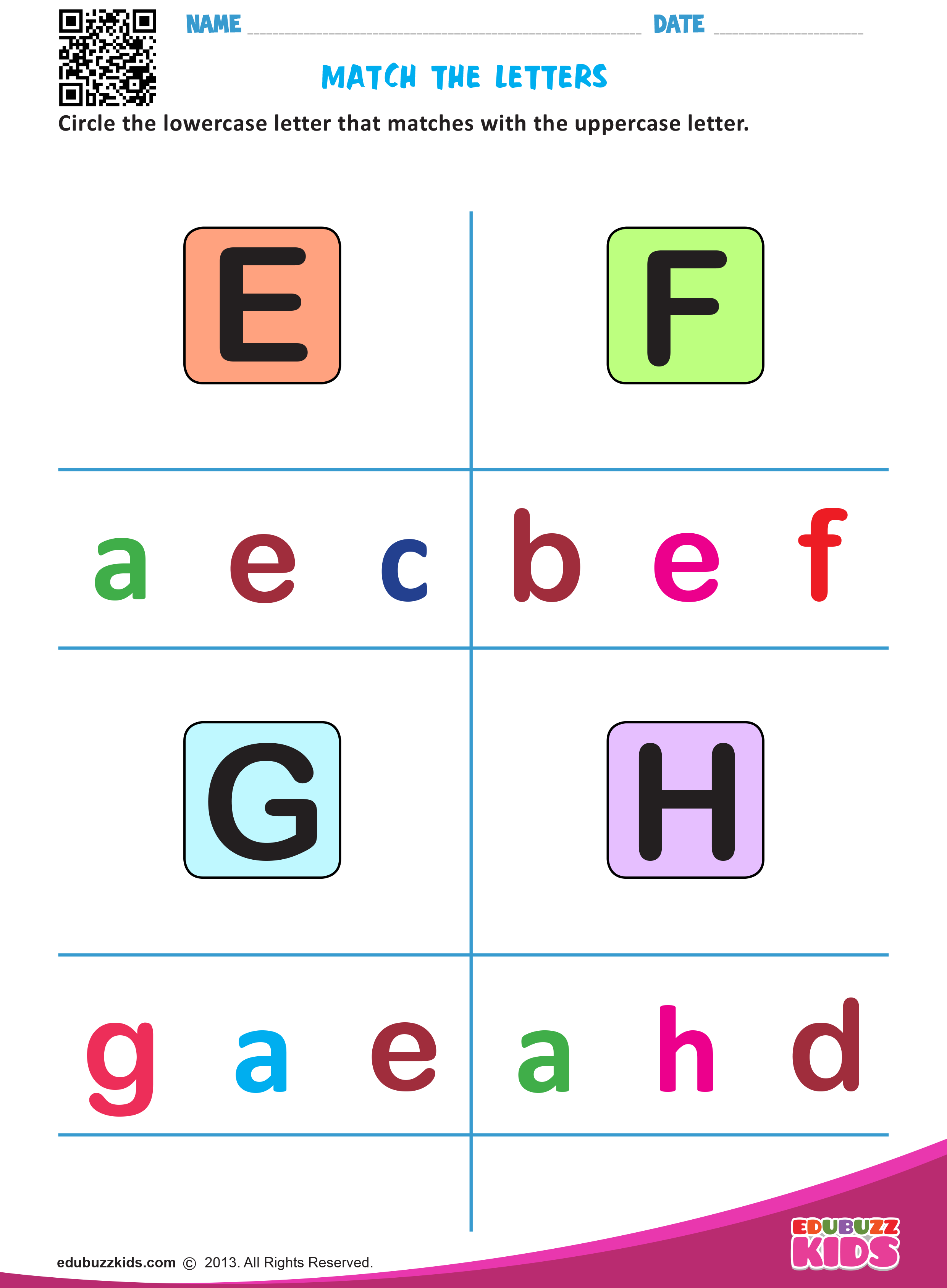 English Match Letters Worksheets With Printable For Both