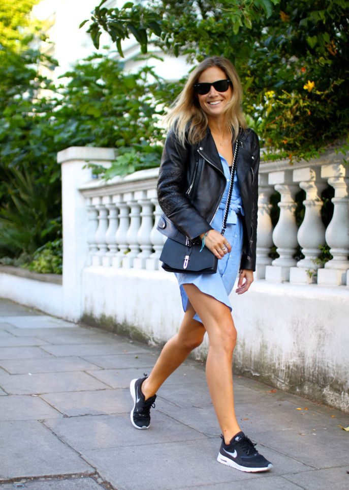 nike sneakers and a leather jacket perfection! #thedailylady