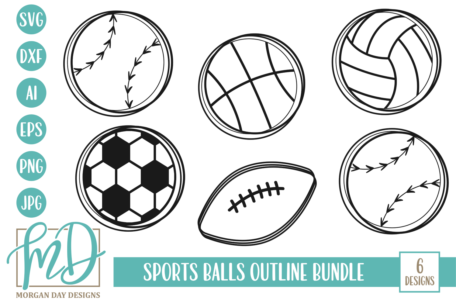 Sports Balls Outline Svg Bundle Graphic By Morgan Day Designs Creative Fabrica