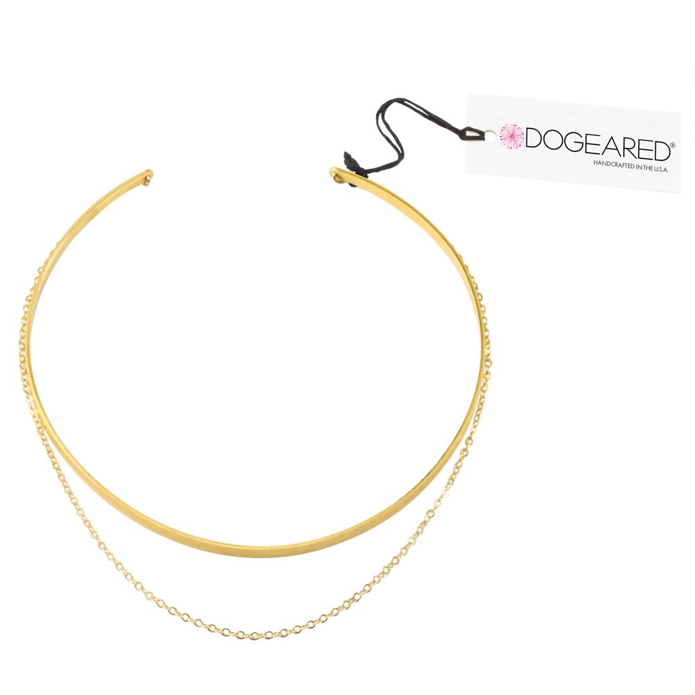 Draped Chain Collar Choker Gold Dipped Dogeared rock steady