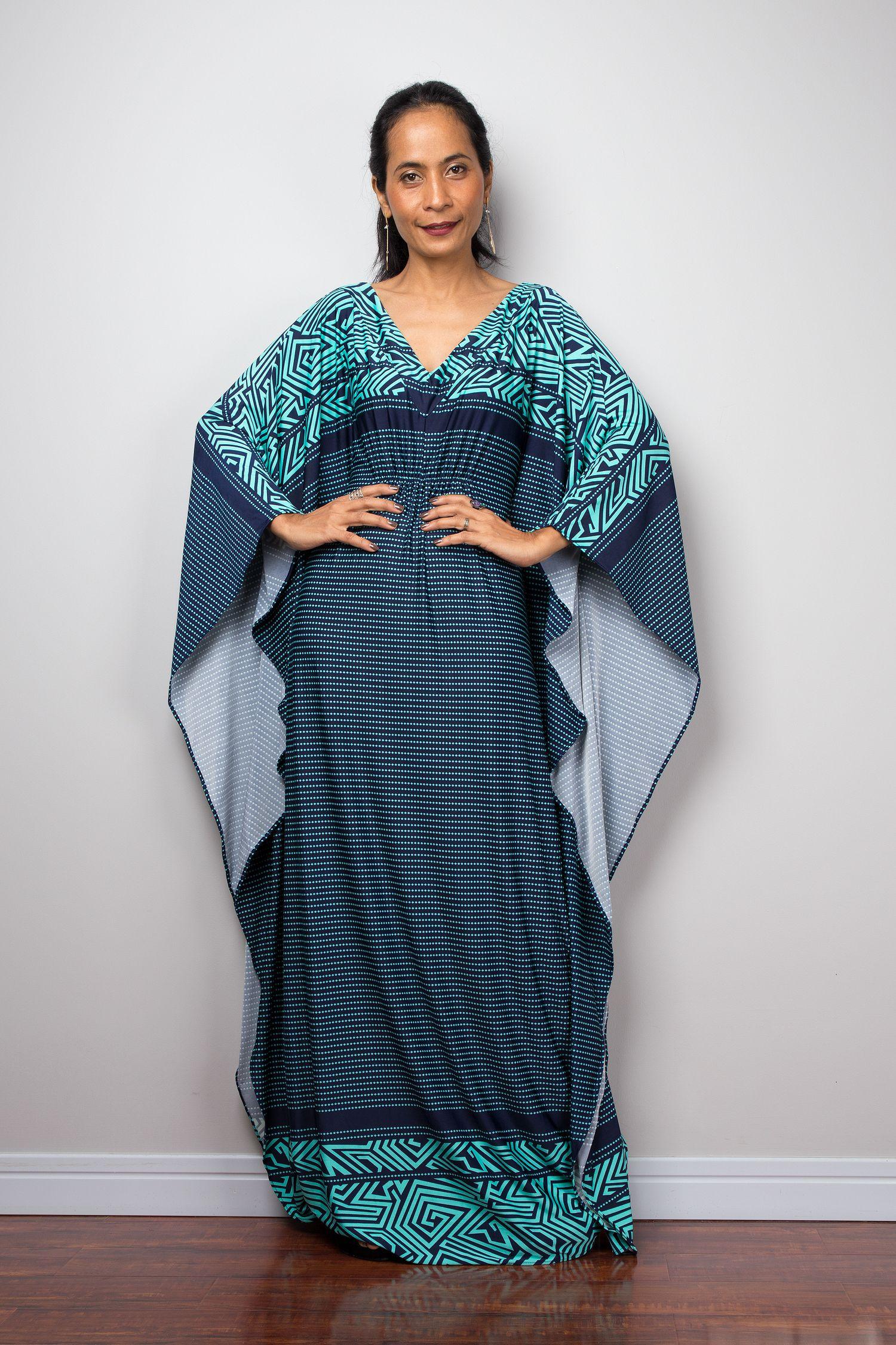 590f0fc0b6291 Blue Kaftan Dress - Oversized Frock Dress - Loose fit Maxi Dress in ...