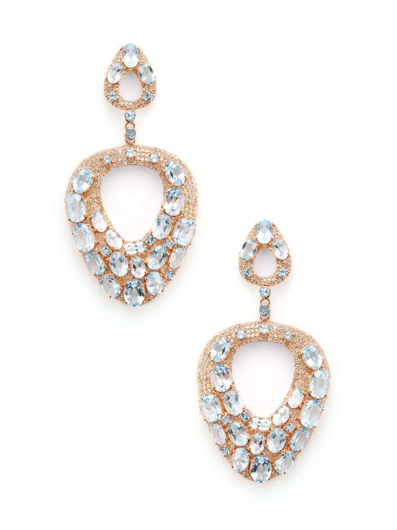 Pave Diamond & Topaz Open Teardrop Earrings | Jennifer ...
