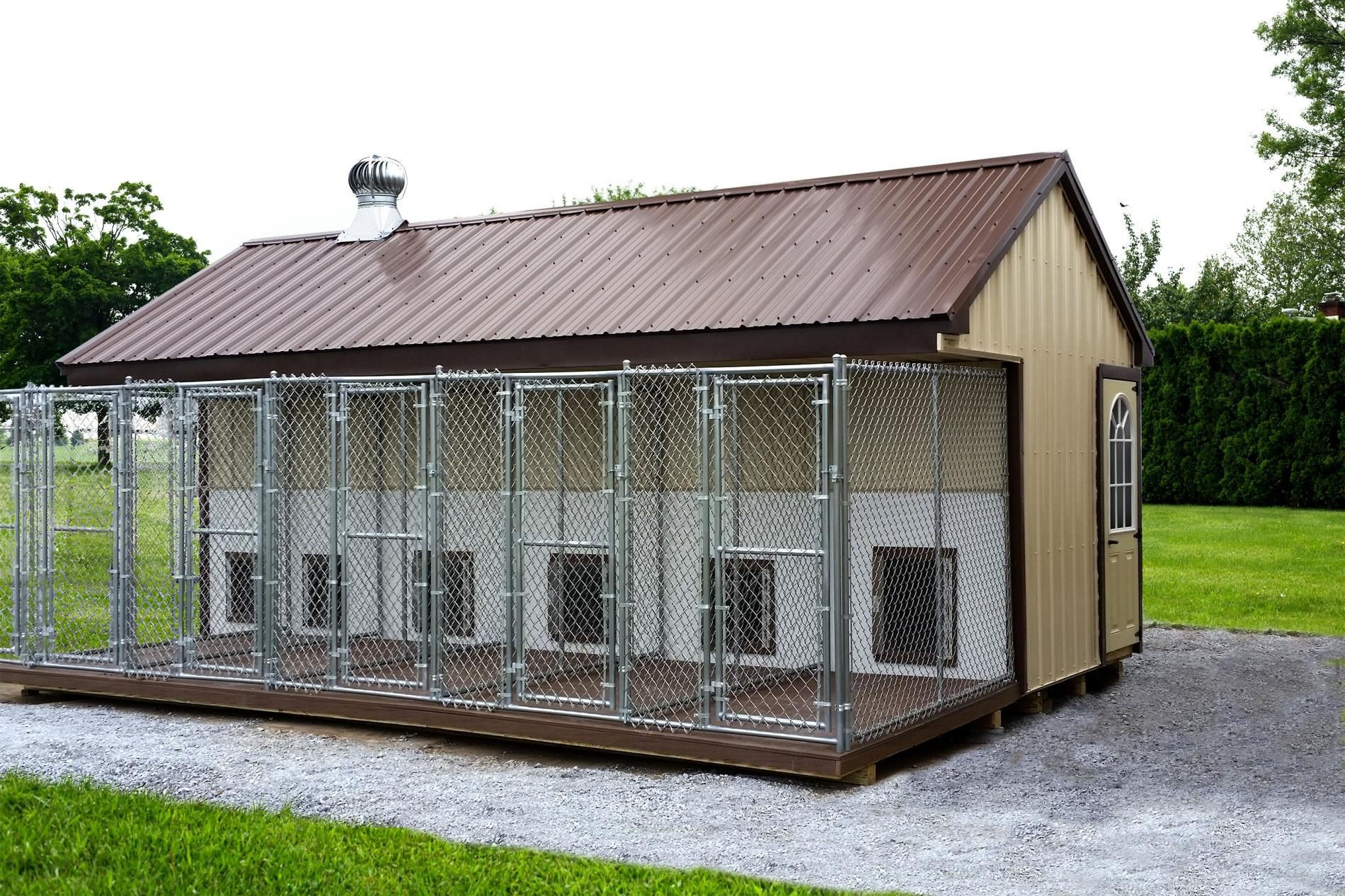 Standard Features 4 Overhang 8x22 Add On Run Shown With Optional Beige Metal Siding Brown Metal Roof And Dog Kennels For Sale Dog Kennel Outdoor Dog Kennel