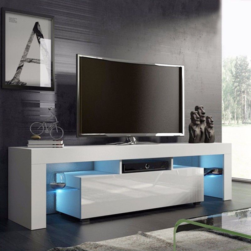 White Tv Cabinet Unit Stand Led Cupboard Coffee Table High Gloss