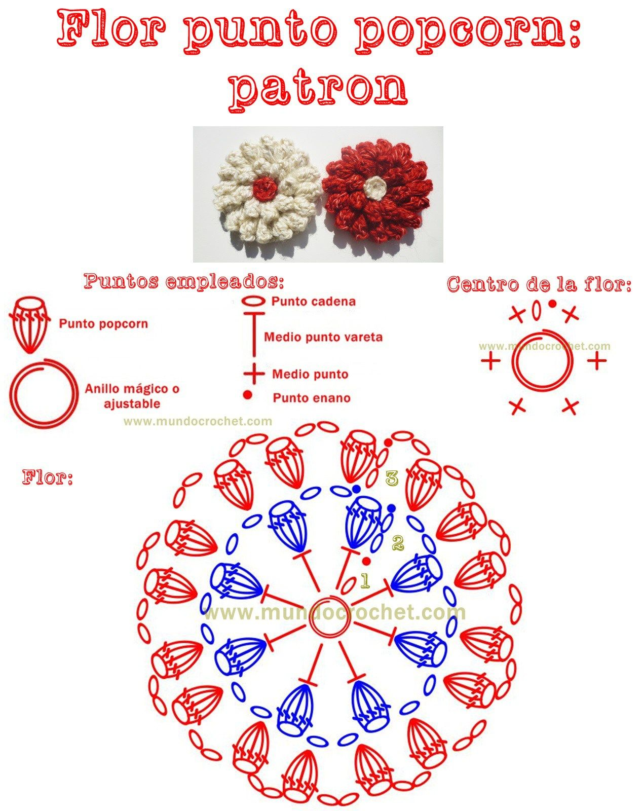 Patron flor en punto popcorn a crochet o ganchillo | ➽ Bunga Rajut ...