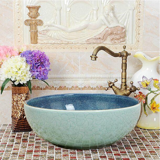 Artistic Engraved Blue Porcelian Round Countertop Bowl Sink Wash