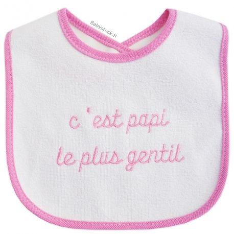 e833571668720 Bavoir bébé en éponge   PVC C est Papi le plus gentil rose   Babystock