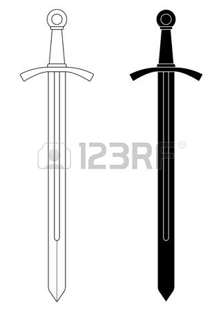 One Handed Medieval Knight Vector Sword Clip Art Illustration Isolated On White Contour Black And White Medieval Knight Illustration Art Knight Sword