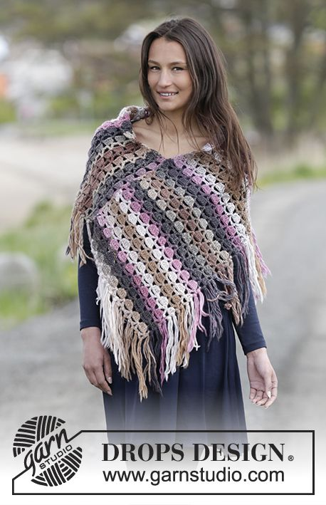 Lucille Poncho By DROPS Design - Free Crochet Pattern - (garnstudio)