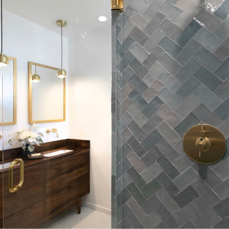 Photo of Avalon Style Brass Bathroom Herringbone Tiles