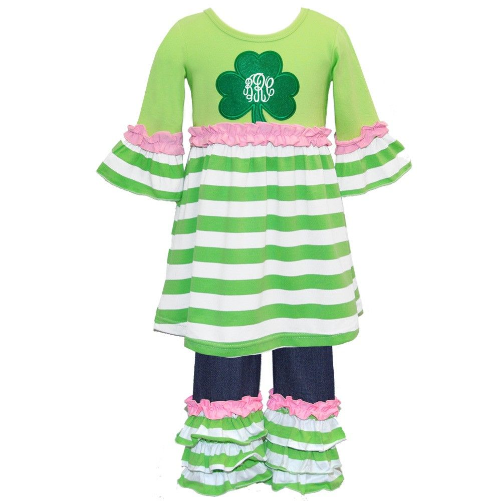 Appliqued Shamrock Ruffled Knit Pant Set. Use my code SassySerrenity for 5% off of your order!