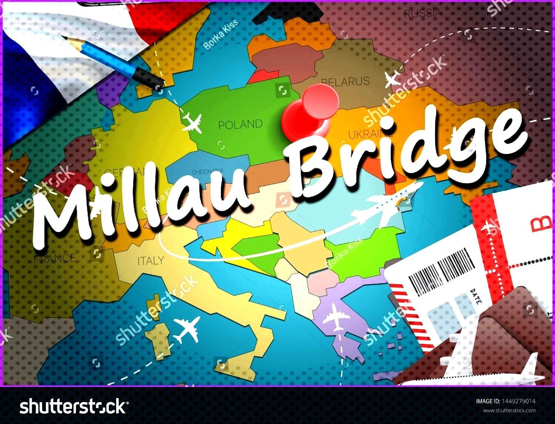 Bridge city travel and tourism destination concept. France flag and Millau Bridge city on map. Fran