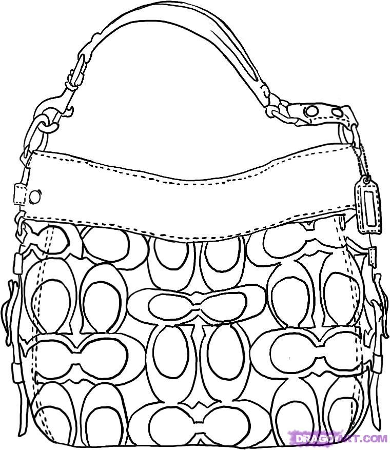 How To Draw A Coach Handbag By Dawn Bag Illustration Purse