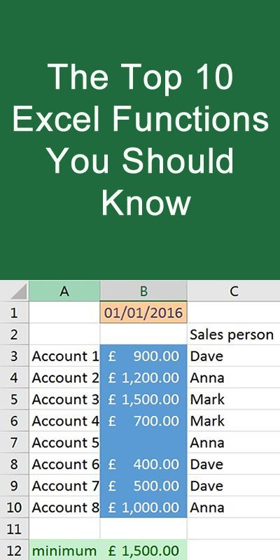 The Top 10 Excel Functions that you should know Office2016 help
