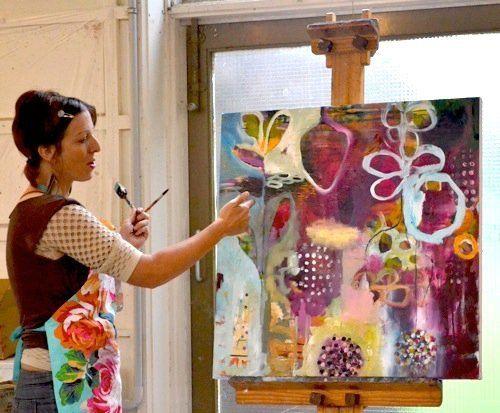 Flora Bowley - artist,  Bloom True painting workshop