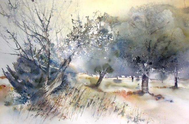 ORAGE - Painting ©2008 by Reine-Marie PiNCHON -                            Contemporary painting, orage arbres dauphiné noyers ciel lumières