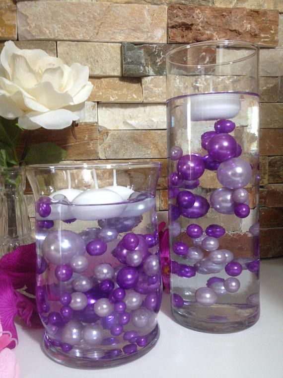 Diy floating pearl centerpiece purple lilac pearls pc