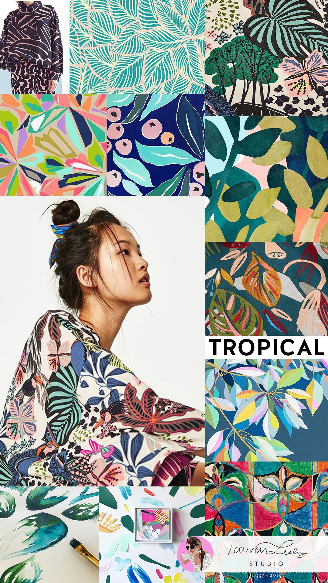 Tropical Trend Report SS19 | Modern Tropical Illustration Design | Tropical Print | Tropical Decor | Tropical Fashion | Tropical Wallpaper | Tropical Outfit | Tropical Aesthetic | Tropical Art | Pattern Design | Surface Design #laurenlesleystudio #tropicalpattern