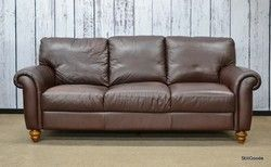 Italsofa Brown Leather 3 Cushion Sofa
