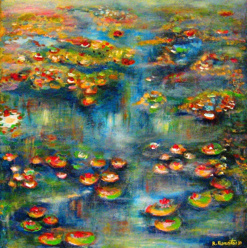See how i paint floral flowers water and water plants for Floral acrylic paintings